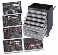 Carro de ferramentas equipado com 266 ferramentas profissionais, distribuídas por 7 gavetas