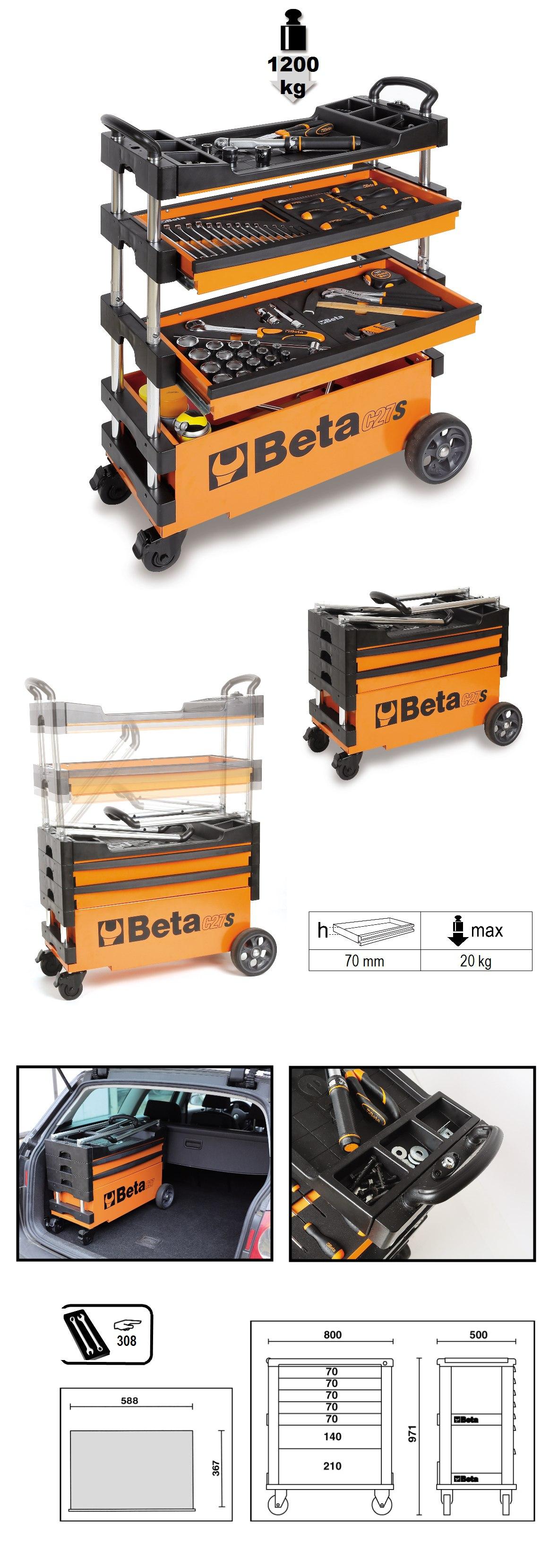 Carro de ferramentas BETA  tipo trolley rebatível para trabalhos ao ar livre