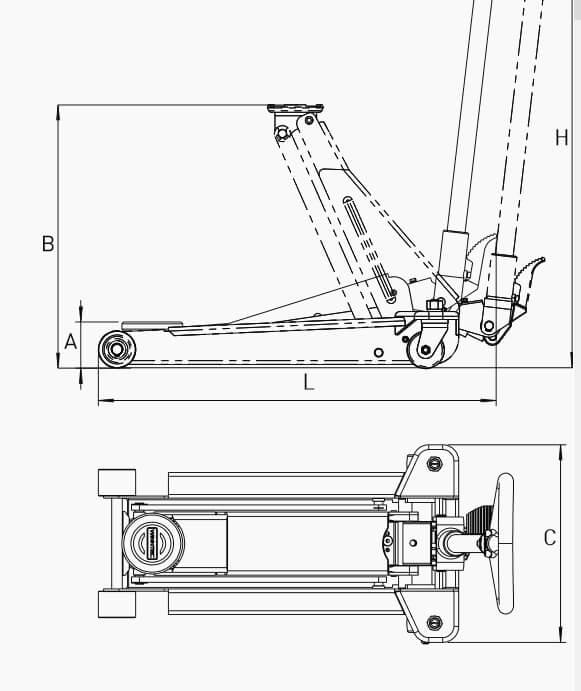 Macaco Hidráulico Curto, com rodas da marca WINNTEC - 2 - WY420303 medidas