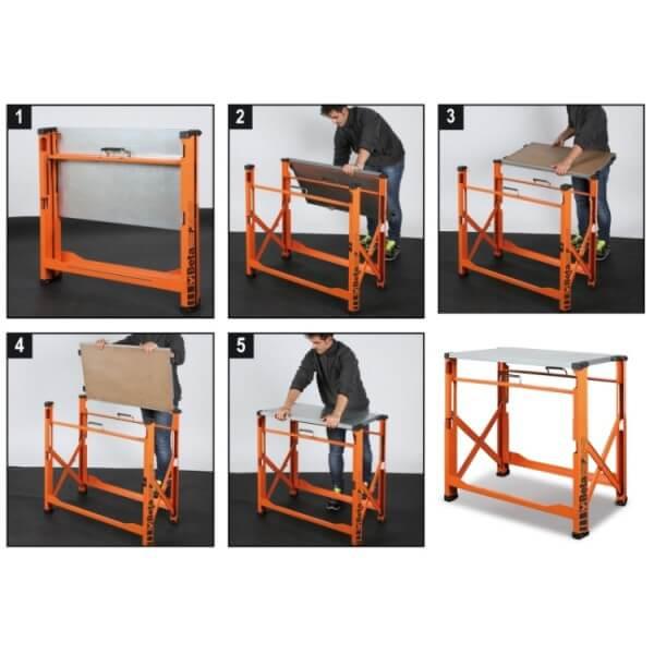 Bancada de trabalho dobrável Compacta e fácil de transportar.
